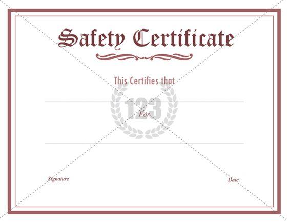 Prestigious Safety Certificate PDF Download - 123Certificate - official birth certificate template