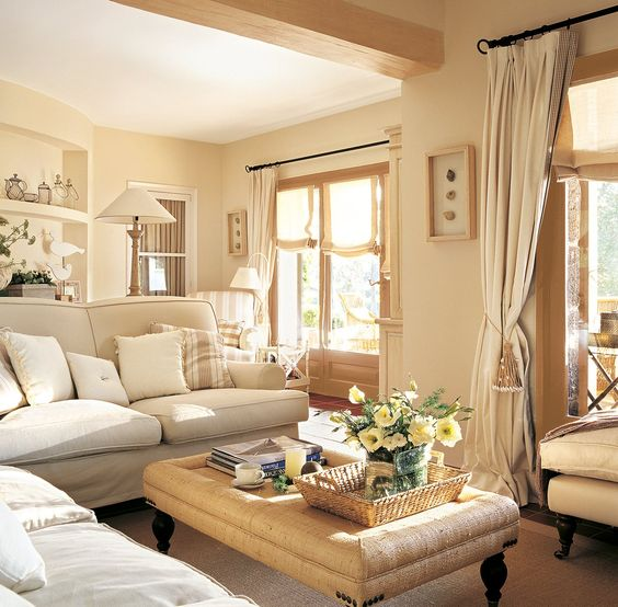 Sitting rooms monochromatic room and shabby on pinterest - Salones estilo shabby chic ...
