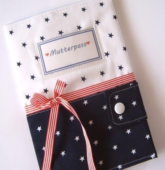 Mutterpasshüllen - Mutterpasshülle Mutterpass Sterne blau Junge Mama - ein Designerstück von Made-by-Britti bei DaWanda