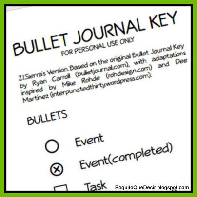 bullet journal key pdf
