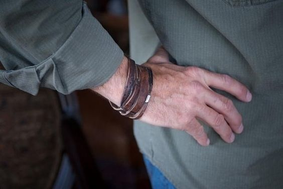 Mens Leather and Sterling Silver Bracelet