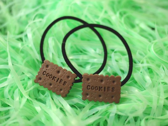 Kawaii Chocolate Cookies Hair Tie / Bown Chocolate by VintageLoser