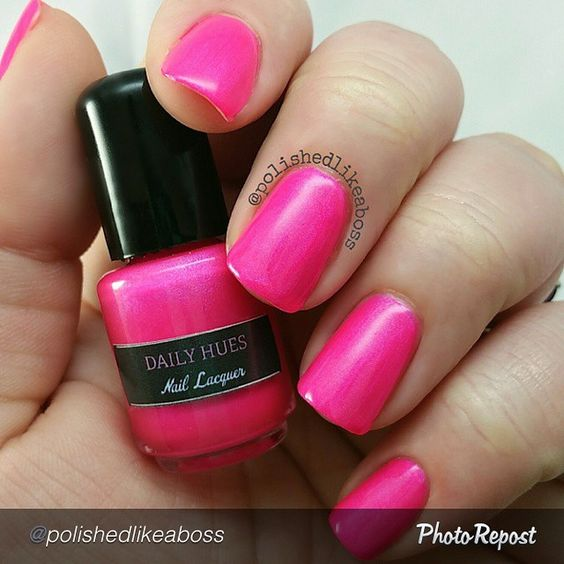 "by @polishedlikeaboss ""Good morning boss ladies! I'm super excited to share a new collection by @dailyhuesnaillacquer, which Jenn has called Shifty Neons! First up in the collection is Phoebe, which is a super bright neon pink shade with a gorgeous sky blue shimmer throughout. The formula on this was a touch thick, but not hard to work with at all, and here you see three coats to even everything out. This dried to a satin finish, so I also added topcoat to make it super shiny. I absolutely…"