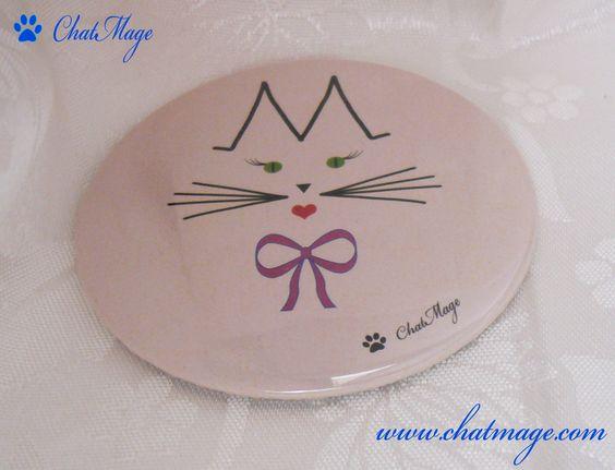 """Miroir de poche, miroir de sac, rose, rose poudré, chat, ChatMage, """"Mademoiselle ChatMage"""", Pocket Mirror, bag Mirror, cat, pink, powder pink, """"Miss ChatMage"""""""
