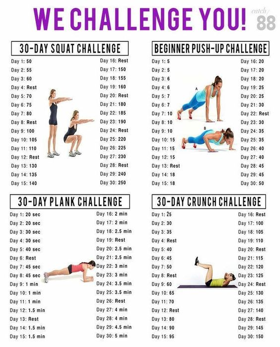 Image result for crunches, squats, planks, push up challenge