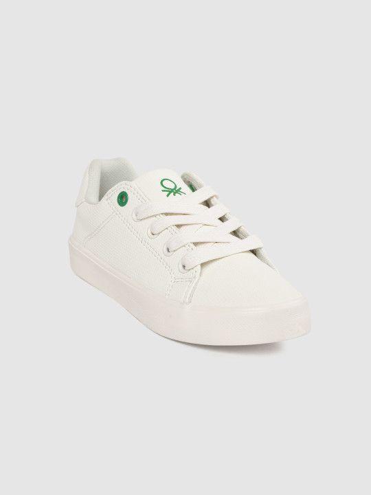 Benetton Kids White Textured Sneakers
