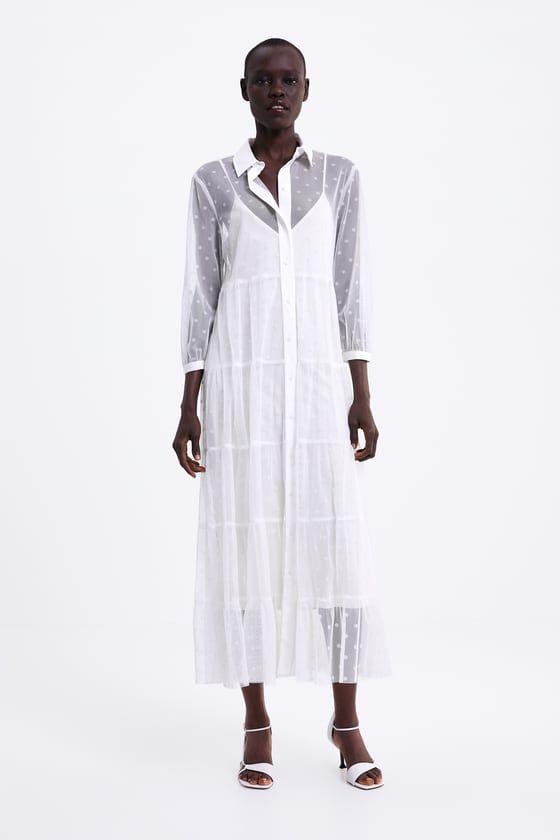 Zara Mujer Vestido Tul Lunares Kleider Damen Tullkleidchen Zara Outfit