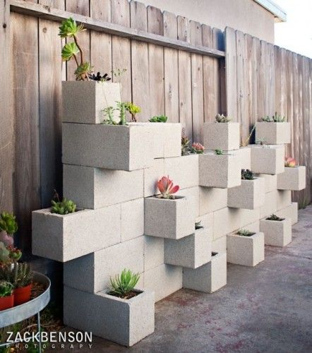 Cinder Block as planters -Zach Benson Photography via Houzz