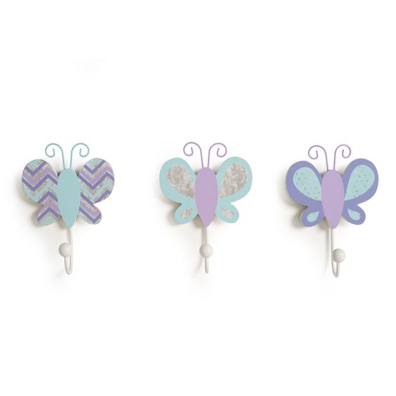 COCALO 3-Pc Wall Hooks - Violet/Butterflies