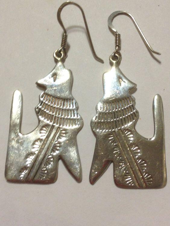 Howling Coyote Sterling Earrings Navajo Silver 925 Vintage ...