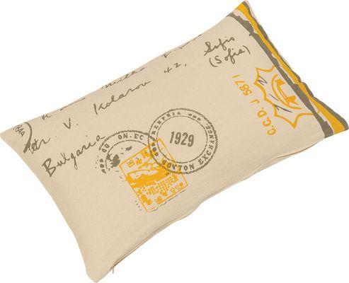 Poduszka Stamp biało-żółta - Tekstylia - Artykuły Dekoracyjne - Meble VOX