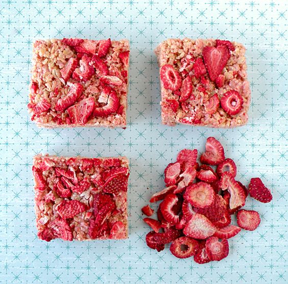 *Strawberry Rice Crispy Treats-use brown rice crispy cereal, pulverize all the freeze dried strawberries into powder+use naturally flavored marshmallows for no artificial color or flavors!