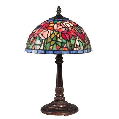 """Dale Tiffany Tulip 16"""" H Table Lamp with Bowl Shade"""