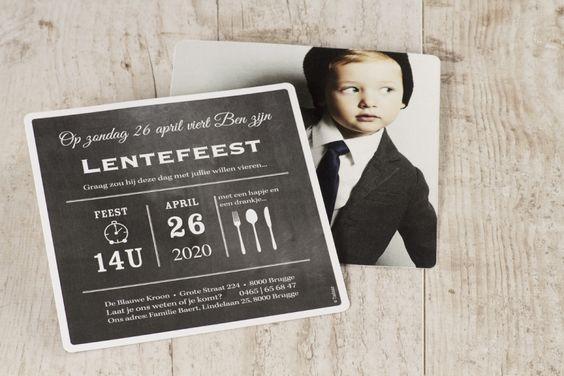 Krijtbord uitnodiging met foto | Tadaaz #communie #lentefeest #uitnodiging