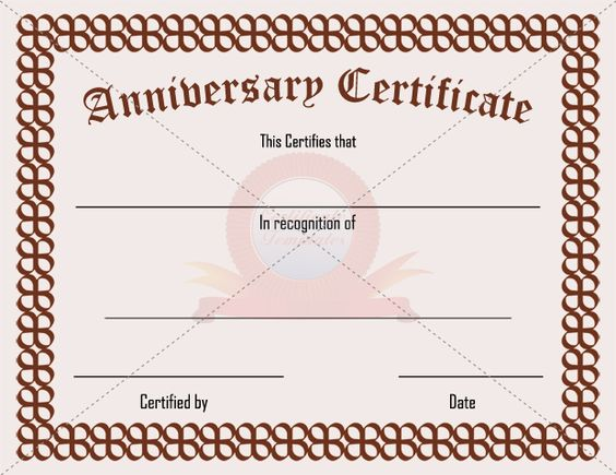 Anniversary Certificate Template – Certificate of Ownership Template