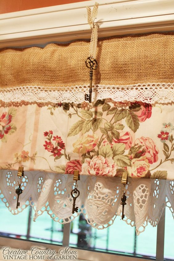 Creative Country Mom's: Sewing Burlap and Lace Curtains: