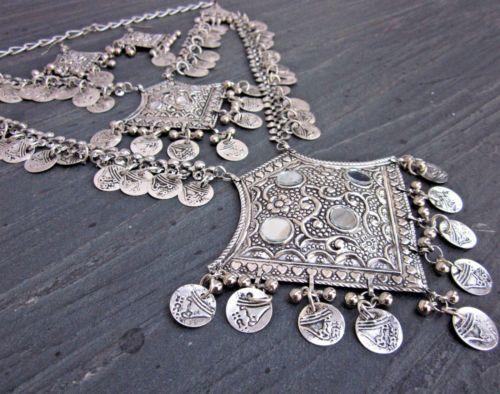 Boho Coin Necklace Tribal Vintage Gypsy Kuchi Ethnic Statement Fashion Jewelry