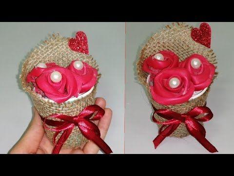 فكرة مشروع من قماش الخيش ديكور الورد هدية حلوة و ديكور تحفة Youtube Quick Crafts Crafts Make It Yourself