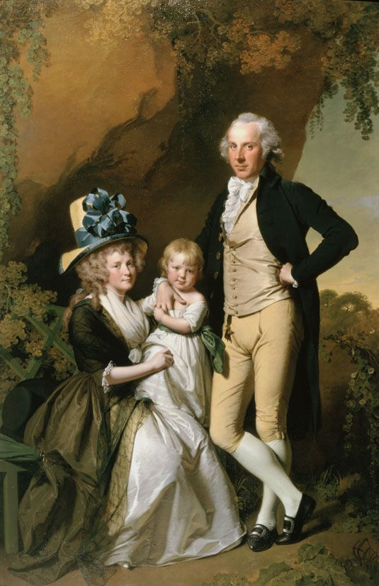 1790 Joseph Wright of Derby - Portrait of Richard Arkwright Junior with his Wife Mary and Daughter Anne:
