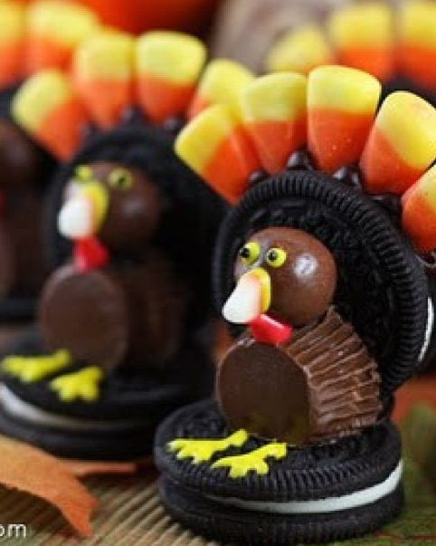 Turkeys made from oreos mini reese cups candy corn