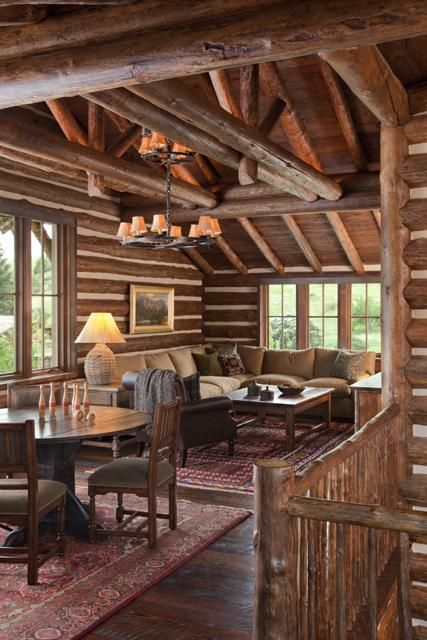 Cabin cabin interiors and logs on pinterest for Luxury log home interiors