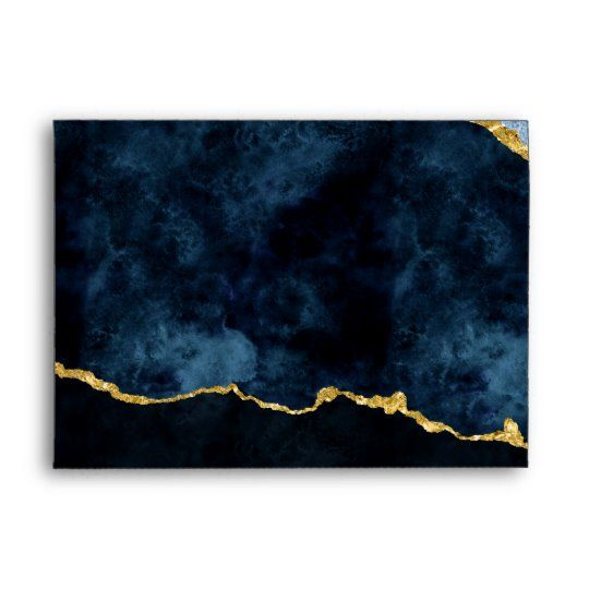 Navy Blue Gold Foil Gilded Agate Marble Wedding Envelope Zazzle Com In 2020 Marble Wedding Blue Abstract Painting Blue Gold