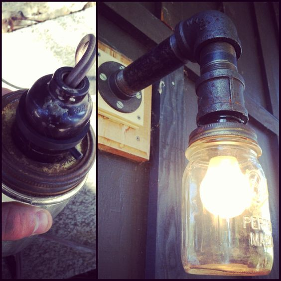 Diy Mason Jar Porch Light Black Iron Pipe For The Arm