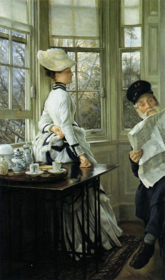James Tissot, Reading the News, 1874.