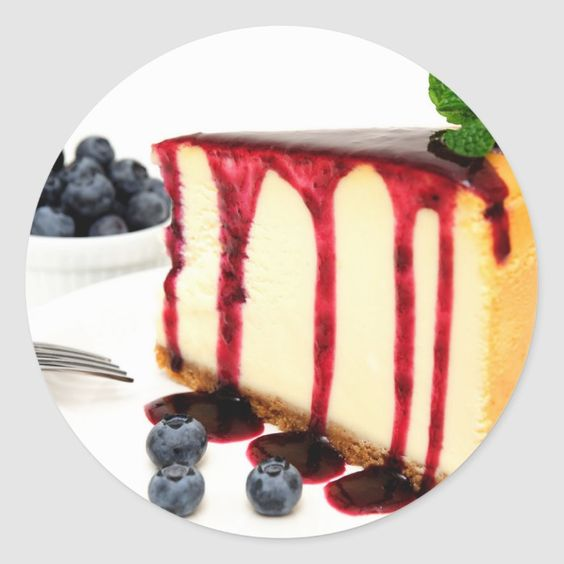 Cheesecake And Blueberries Classic Round Sticker | Zazzle.com