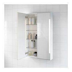 IKEA - STORJORM, Spiegelschrank m. 2 Türen+int. Bel., 60x14x96 cm, , Leuchtdioden verbrauchen ca. 85 % weniger Energie und halten 20-mal länger als Glühlampen.Für breit gestreutes Licht, das z. B. das Badezimmer wirkungsvoll erhellt.Spiegel mit Sicherheitsfolie auf der Rückseite, die das Gefahrenrisiko durch splitterndes Glas mindert.
