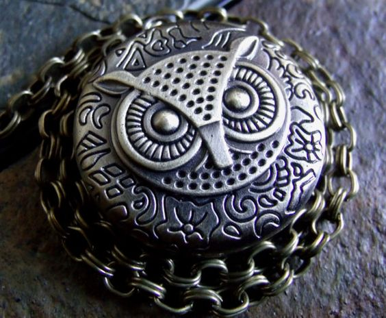 Steampunk Owl Pocket Watch with Large Kilt Pin / Lapel Pin / Bag Accessory / Bird Jewelry - Guardian of Time Motif / Brass - 15 inch chain