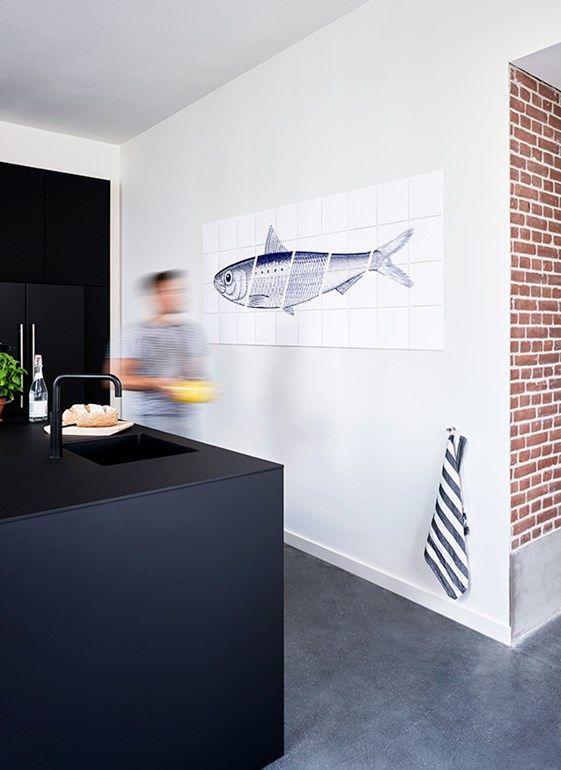Blue Fish Keuken Kunst Aan De Muur Keukendecoratie Keuken Kunst