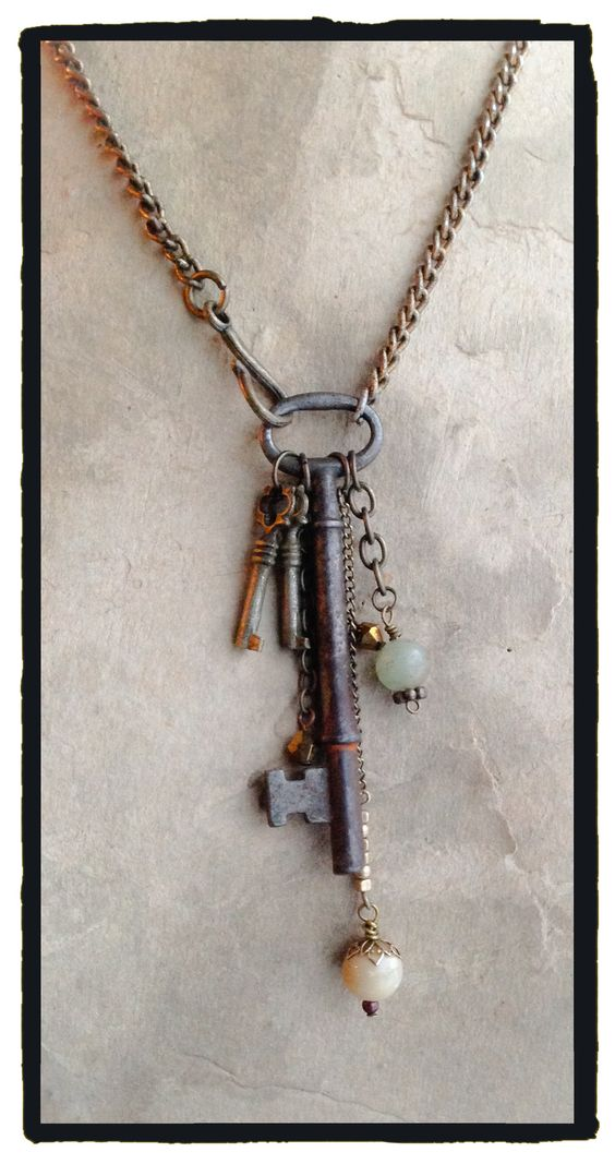 Vintage Skeleton key, two small keys and beads dangling! - by LjBlock Designs