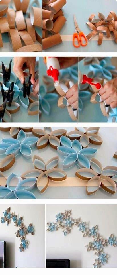 Reciclar: Tubos papel higiénico y decorar una pared