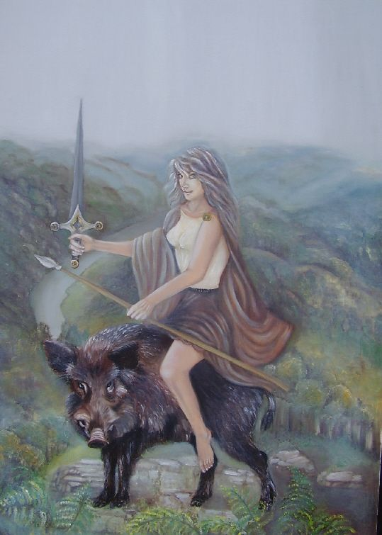 ARDUINNA | Eponymous goddess of the Ardennes Forest and region, represented as a huntress riding a boar (primarily in the present-day regions of Belgium and Luxembourg). Her cult originated in what is today known as Ardennes, a region of Belgium, Luxembourg and France. She was later assimilated into the Gallo-Roman mythology of goddess Diana.
