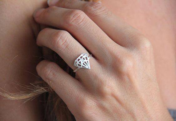I love this-- almost ironic! Thin Diamond Ring Diamond Shaped Ring Thin Silver by MinimalVS