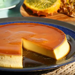 Caramel Cream Cheese Custard  Reduced-fat cream cheese gives this slimmed-down flan a deliciously rich texture.