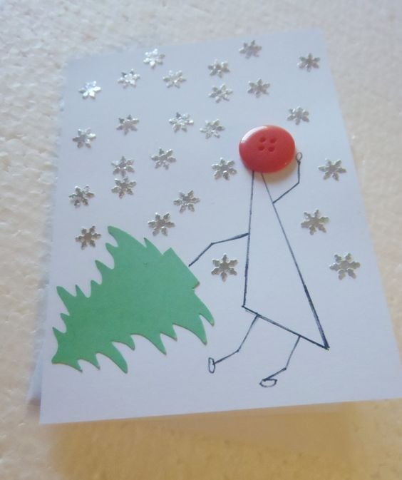Handmade Recycled Button Christmas Card by ChicEventsDecor on Etsy