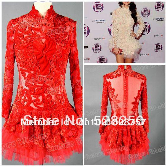 Real Sample Selena Gomez Mini Fashion High Neck Design Mini Backless Full Sleeve Applique Cap Sleeve Tulle Red Celebrity Dress