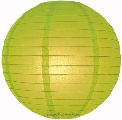 """36"""" Chartreuse Even Ribbing Round Paper Lantern by Asian Import Store, Inc.. $26.00. Round paper lanterns with a even ribbing. Lantern is held open with a wire expander.  Dimensions: 36"""" dia  (All lanterns sold without lighting, lighting options must be purchased separately)  Item cannot ship Internationally"""