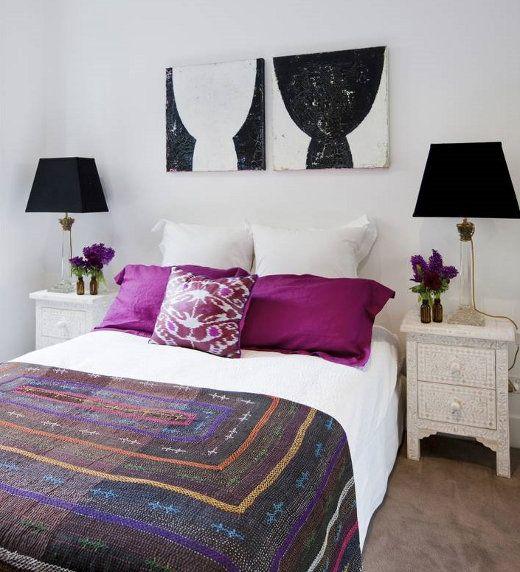Lucy Fenton - bedrooms - In the depths of darkness artwork, In the depths of light artwork, Bone inlay table, magenta, magenta pillows, magenta shams,