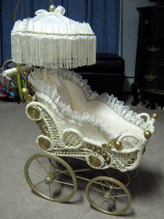 Vintage Victorian Wicker Wood Doll Carriage Stroller With
