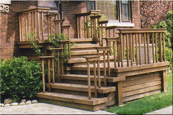 Front entrance wooden steps steep porches decks patios for Front porch construction