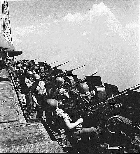 Oerlikon guns in the catwalk of USS Hornet, Feb 1945