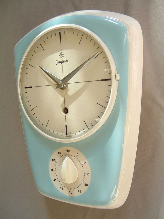 Junghans WALL CLOCK 8 day wind-up mid-century modernist ceramic vintage 50s 60s
