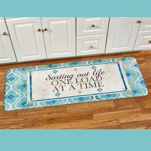Sorting Out Life Runner Mat Turquoise 55 X 20 Laundry Room Rugs