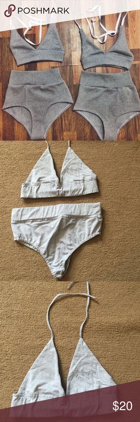 Grey High Waist Bikini 100% Cotton Grey High Waisted Bikini. Ordered a Large but fits like a Medium. Never worn. Swim Bikinis
