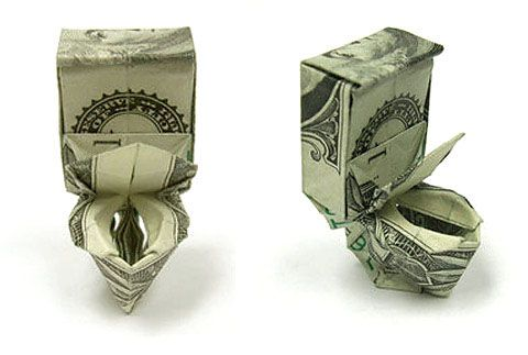 one dollar bill origami: