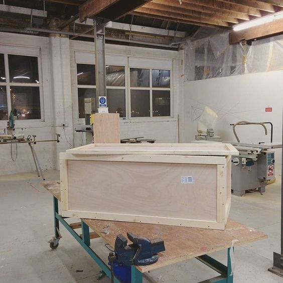 Late night crate building.  #arthandler #arttech #arttechnician #crate #workshop #studio #wood #ply #art #woodwork de ruaidhri_lennon