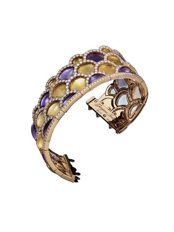 Giampiero Bodino Mosaic bracelet featuring layers of amethyst and citrine outlined by diamonds. Image: Laziz Hamani